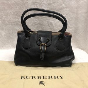 BURBERRY Leather Handbag with fabric check trim